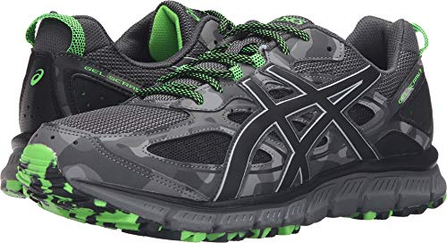 ASICS Men's Gel-Scram 3 Trail Runner, Carbon/Black/Green Gecko, 10.5 M US T6K2N.9790