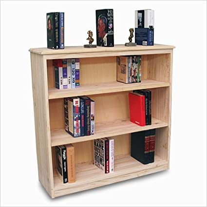 Gothic Cabinet Craft Unfinished Real Wood Bookcase W/ 2 Adjustable Shelves
