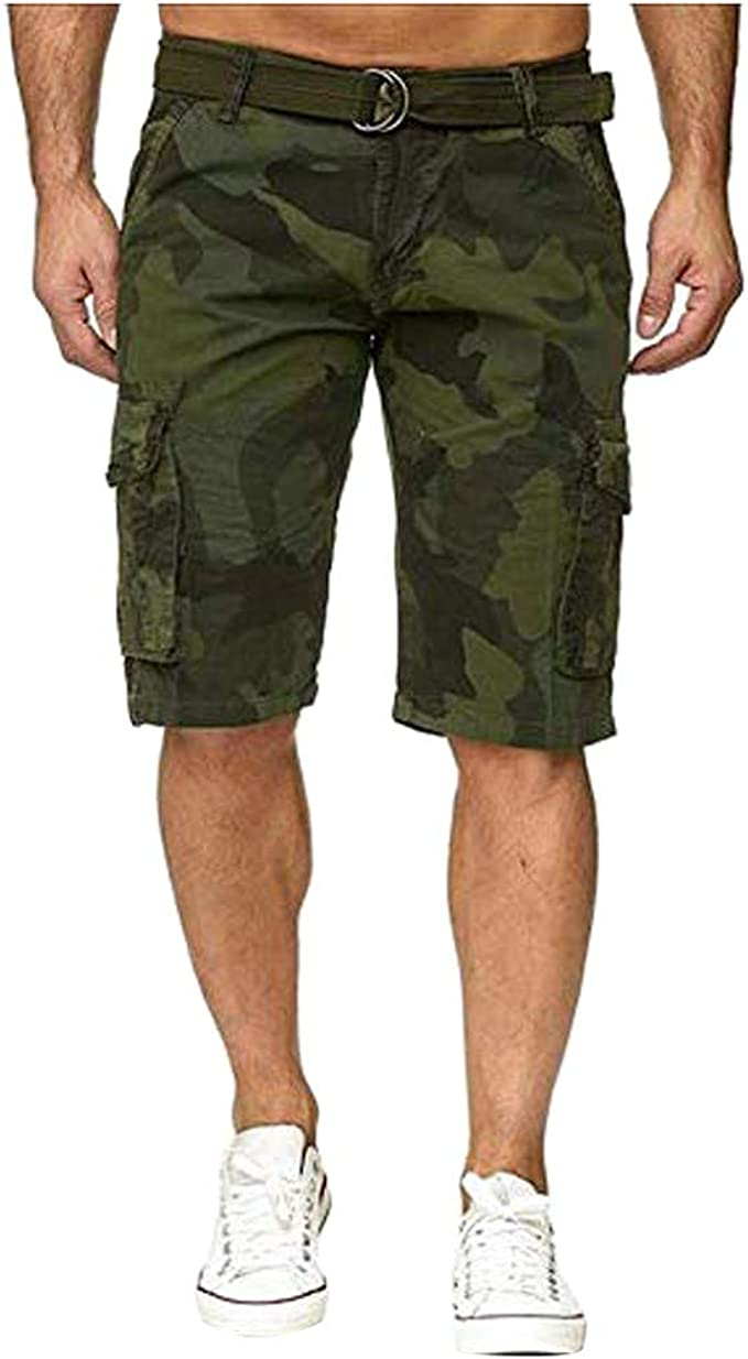 YEBIRAL Pantalones Cortos Hombre, Verano Printed Camuflaje Cargo ...