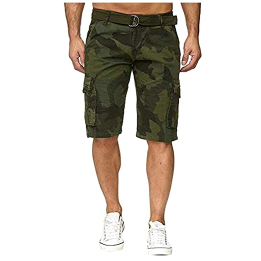 Goddessvan Mens Multi-Pocket Cotton Shorts Camo Cargo Shorts ...