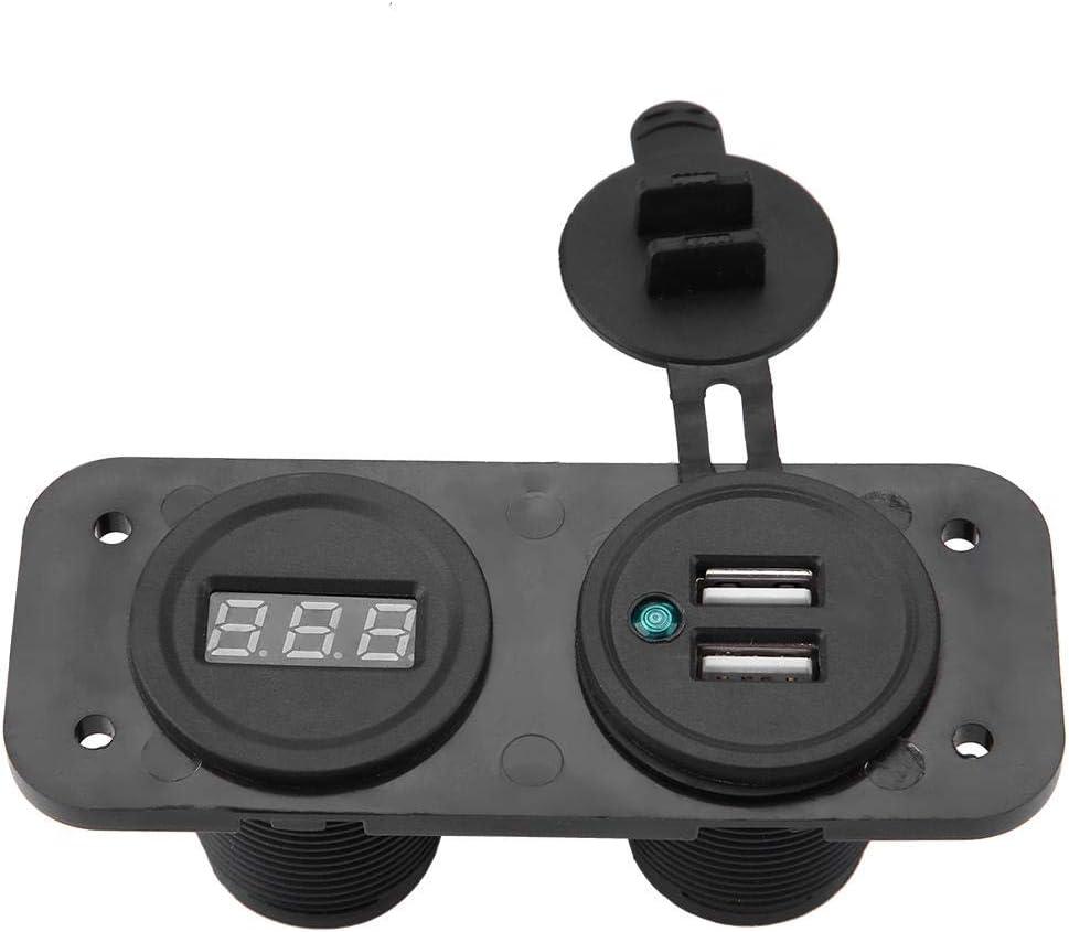 1A//2.1A Dual USB Universal Port Car Charger Socket 12V24V Digital Voltmeter Green