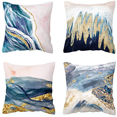 BLUETTEK Printed Abstract Blush, Blue and Turquoise Color Decorative Throw Pillow Covers, Soft Velvet Accent Cushion Cases 45cm x 45cm (Blush & Blue Waves) (White Pillow Gold)
