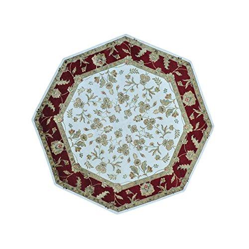Octagonal Rajasthan Hand Knotted Wool and Silk Rug (Octagonal Silk Rug)