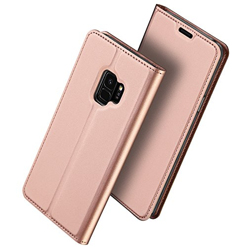 (Galaxy S9 Case, HXAYR Shockproof Luxury Skin Leather Wallet Case with Card Holder [Kickstand][Magnetic Closure] Folio Flip Full Body Protective Phone Case for Samsung Galaxy S9 5.8 inch, Rose Gold)