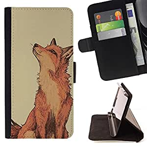 For Apple Iphone 6 Red Fox Clever Vignette Yellow Cute Style PU Leather Case Wallet Flip Stand Flap Closure Cover