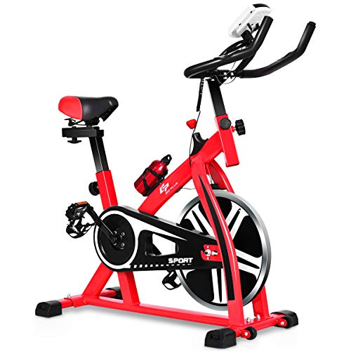 GOPLUS Stationary Bike, Indoor Riding Bike, with Heart Rate Sensors, LCD Display, Professional Exercise Bike for Home and Gym Use (Red+Black)