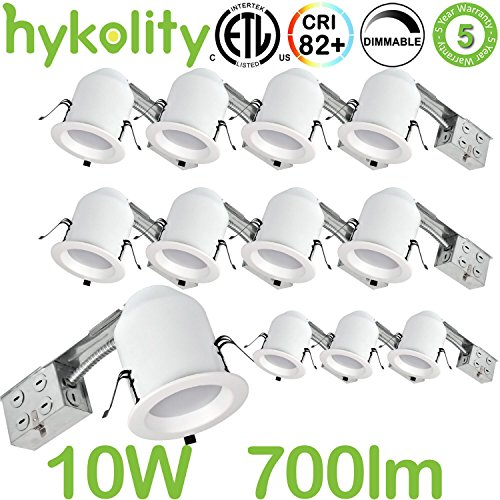 - Hykolity 4 Inch LED Recessed Downlight Kit, 10W 700lm 3000K Warm White Dimmable Remodeling LED downlight kit, 120V-277V, Airtight& IC Rated Wet Location, ETL&Energy Star- 12 Pack