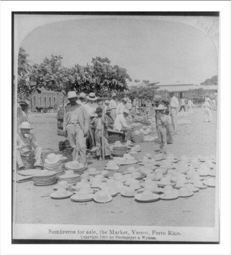 Historic Print (L): Sombreros for sale, the Market, Yauco, Porto Rico -