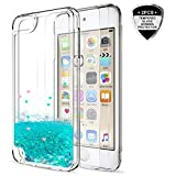 iPod Touch 6 / Touch 5 Case with Tempered Glass Screen Protector [2 Pack] for Girls,LeYi Shiny Glitter Quicksand Clear TPU Protective Phone Case for Apple iPod Touch 6th / 5th Generation ZX Turquoise