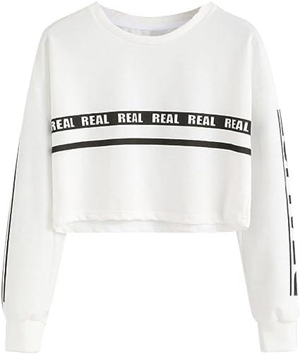 Homebaby Felpe Corte Tumblr Donna Stampa di Lettere,Ragazza Felpa con Cappuccio Pullover Elegante Manica Lunga Crop Top Maglietta Cotone Camicette T-Shirt Yoga Fitness Calcio Sportiva Maglione