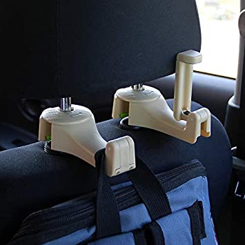 Universal Multifunctional Car Vehicle Back Seat Headrest Mobile Phone Holder Hanger Holder Hook for Bag Purse Cloth Grocery Beige Set of 2