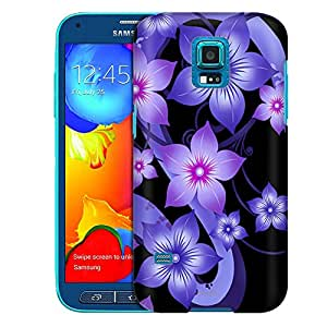 Samsung Galaxy S5 Sport Case, Slim Fit Snap On Cover by Trek Purple Dahlia Flowers on Black Case