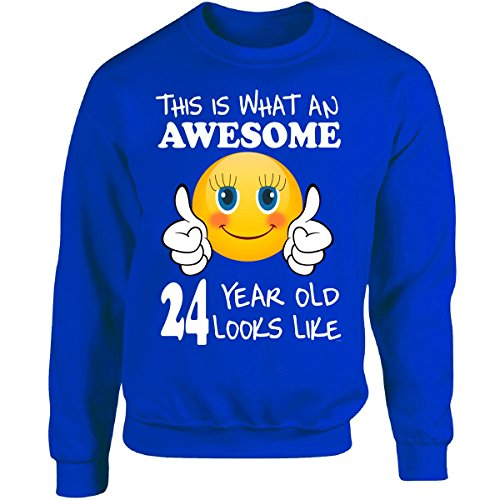 Emoji Birthday 24th Birthday Presents Woman 24 Year Old Gift - Adult Sweatshirt (Birthday Presents For 24 Year Old Woman)