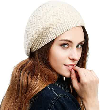 237bb55cb69 JULY SHEEP Women s Lady Knitted Beret hat Merino Wool Braided hat French  Beret for Winter Autumn