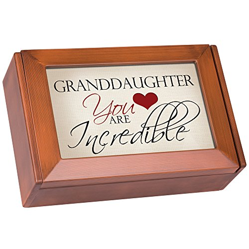 Granddaughter Incredible Wood Grain Digital Music Jewelry Box Plays Song My Wish by Rascal Flatts