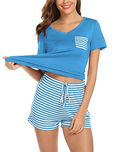 Plus Stripe Pant Set - hellow friends Women's Sleepwear Cotton Stretchy Knit Short Sleeve V-Neck Top and Stripe Pants Pajama Set Loungewear