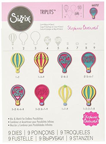 Sizzix 660707 Triplits Die Set, Hot Air Balloons by Stephanie Barnard, - Air Designed Balloon Hot