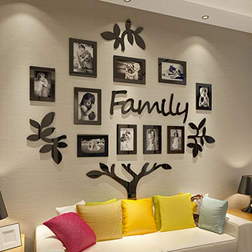 (CrazyDeal Family Tree Picture Frame Collage 3D DIY Stickers with 10 Openings Photo Frame for Wall Mural Living Room Home)