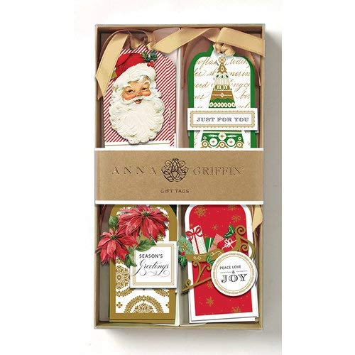 Anna Griffin Christmas Gift Tags 3D Red and Green Festive Foil Accents 8 Tags 4.375