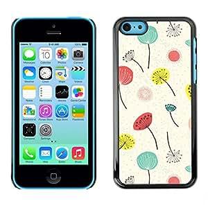 TopCaseStore / la caja del caucho duro de la cubierta de protección de la piel - Poppy Flowers White Minimalist - Apple iPhone 5C