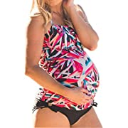 Women Maternity Leaf Printing Tankini Swimsuit Plus Size Pregnant Two Piece Beach Swimwear Size 3XL(US 16-18) (Red)