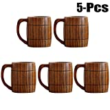 Justdolife 5PCS Wood Mug Beer Cup Handmade Natural Wooden Water Cup for Wine Coffee Tea