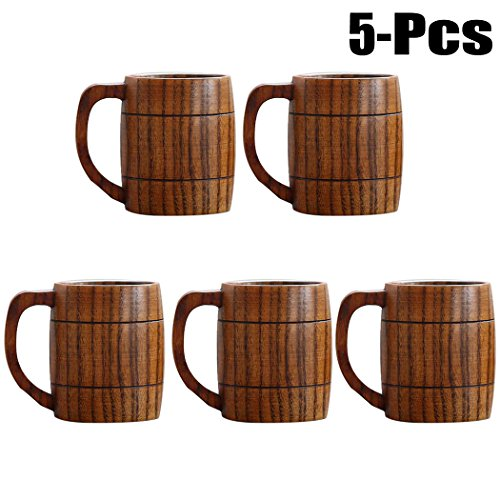 Justdolife 5PCS Wood Mug Beer Cup Handmade Natural Wooden Water Cup for Wine Coffee Tea by Justdolife (Image #6)