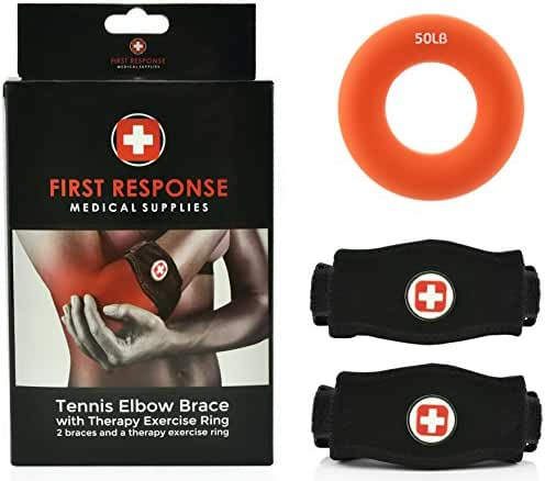 Tennis Elbow Brace 2 Pack With Compression Therapy Ring Neoprene Compression Gel Pad Support & Adjustable Velcro Straps For All Arm Sizes