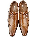 MM/ONE Monk strap shoes Oxford Enamel Embossed Feel Two Tone Ankle Boots Laces Cap toe Shoes Dress Shoes Straight tip Casual Side Zipper Plain toe shoes , Brown , 43 EU (US Men's 10 M)