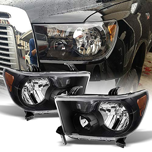 ACANII - For 2007-2013 Toyota Tundra 2008-2017 Sequoia Black Headlights lamps Driver + Passenger Side