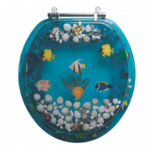 Toilet Seat Standard Clear (PlumbTech 7B2R1-AQCH Designer Acrylic Toilet Seat with Chrome Bar Hinges, Blue)