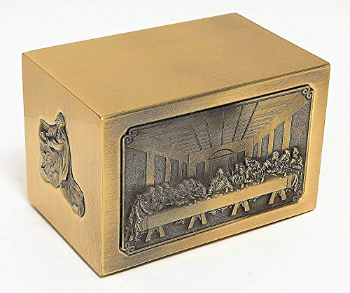 Cremation Urn:The Last Supper Square Urn (Brass) ()