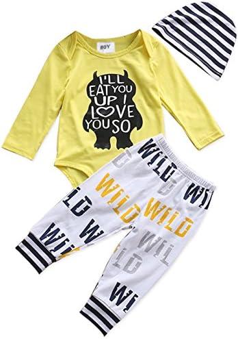 3pcs bebé recién nacido niños ropa Carta Print Romper + Casual pantalones + sombrero trajes set