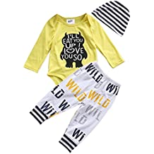 Younger star 3Pcs Newborn Baby Boys Clothes Letter Print Romper+ Casual Pants+Hat Outfits Set