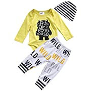 3Pcs Newborn Baby Boys Clothes Letter Print Romper+ Casual Pants+Hat Outfits Set (6-12 Months, Yellow)