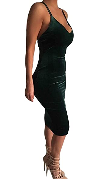 Doufine Women Back Full Long Sections Bodycon Gowns Solid Dress at ...