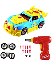 Construction Toys – Take Apart Toys Car Racing – 30 Take Apart Pieces With Realistic Sounds & Lights – Easy Build Your Own Car Kit With Electric Drill Tool For 3 Year Old Boys
