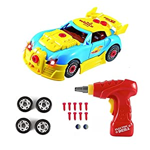 Pup Go Construction Toys – Take Apart Toys Car Racing – 30 Take Apart Pieces With Realistic Sounds & Lights – Easy Build…