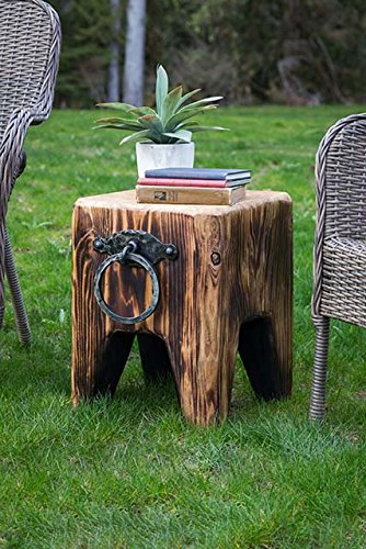Cedar Creek Sculptures Creek Side Cube - Solid Wood Bench - Rustic - Perfect Fire Pit Chair - Built from Reclaimed Wood - Use Indoors as End Table, Night Stand, Plant Stand Cedar Creek Cedar Bench