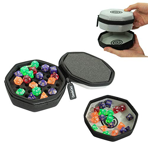 (Protective Padded Dice Case & Integrated Felt Dice Tray for Board Games, Tabletop Games and RPGs - Holds & Protects Over 75 Dice! Perfect for Game Night! (Gray) )