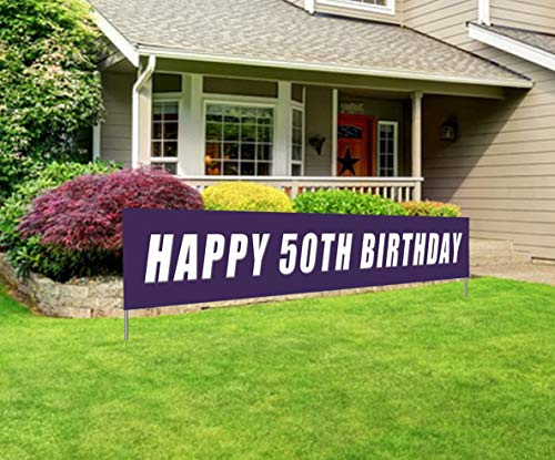 Blue Happy 50th Birthday Banner, Large 50th Birthday Party Sign, 50 Bday Party Supplies Decorations