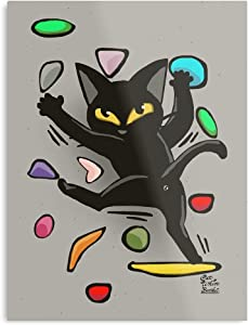 Feline Cat Animals Climbing Sports Black Kitty Bouldering The Best and Style Home Decor Wall Art Print Poster Customize