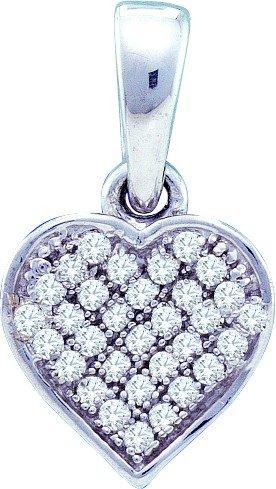 Argent Sterling Diamant 0,10 Dwt Rough JewelryWeb-Pendentif Coeur