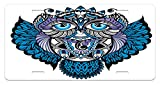 Tribal License Plate by Ambesonne, Owl Bird Animal with Paisley Tattoo Design with Big Blue Eyes Lashes Print, High Gloss Aluminum Novelty Plate, 5.88 L X 11.88 W Inches, Navy Blue and Purple