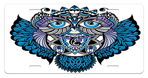Ambesonne Tribal License Plate, Owl Bird Animal with Paisley Tattoo Design with Big Blue Eyes Lashes Print, High Gloss Aluminum Novelty Plate, 5.88 L X 11.88 W Inches, Navy Blue and Purple