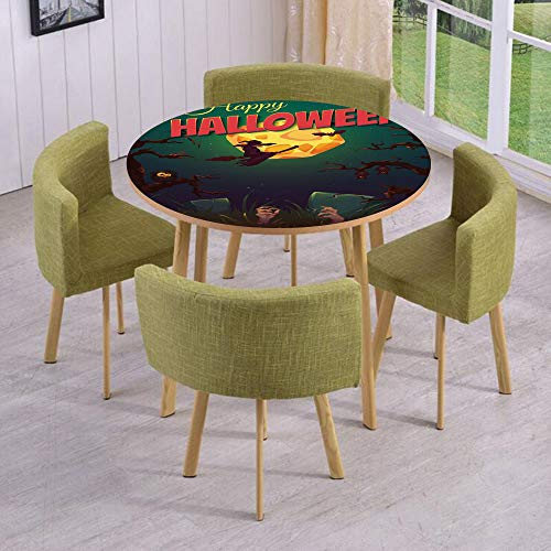 iPrint Round Table/Wall/Floor Decal Strikers/Removable/Happy Halloween Poster Design Witch on Broom Mushroom Dead Resurgence Vintage Decorative/for Living Room/Kitchens/Office Decoration ()
