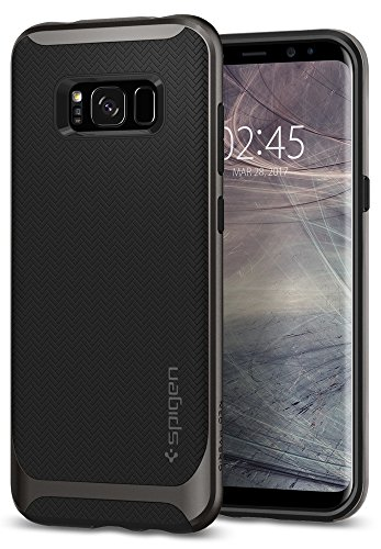 Spigen Neo Hybrid Galaxy S8 Case Herringbone with Flexible Inner Protection and Reinforced Hard Bumper Frame for Samsung Galaxy S8 (2017) - Gunmetal by Spigen