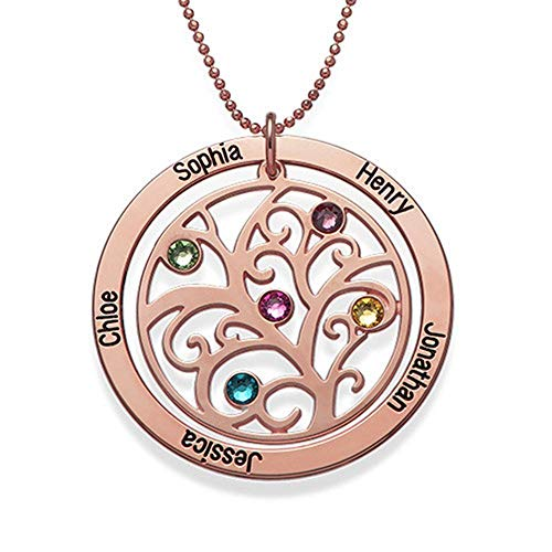 (DXYAN Round Hollow-caved Family Tree Necklace with Birthstones and Custom Made with Names)