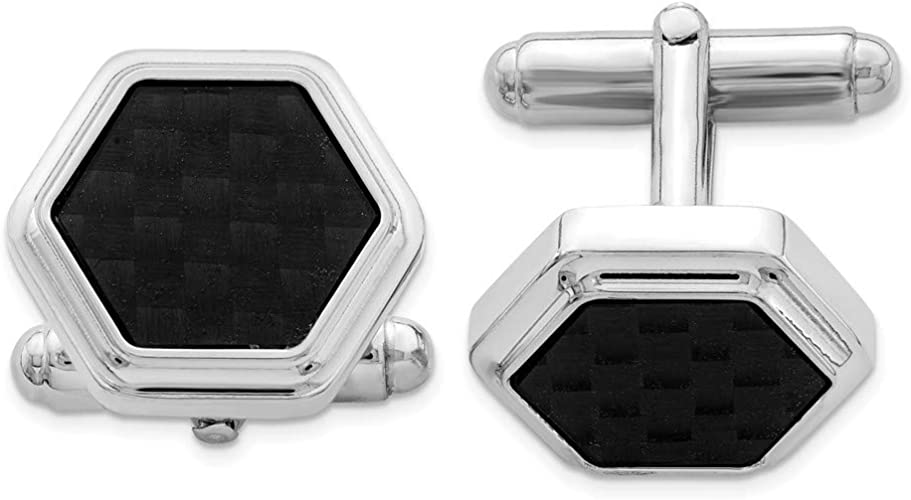 FB Jewels Solid 925 Sterling Silver Rhodium-Plated Cuff Links