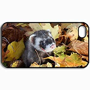 Customized Cellphone Case Back Cover For iPhone 4 4S, Protective Hardshell Case Personalized Ferret Ferrets Leaves Autumn Muzzle Black